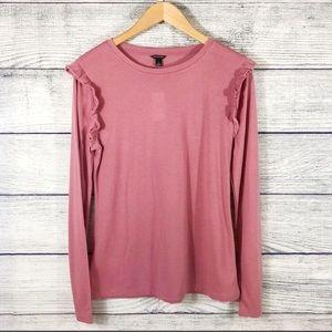 Ann Taylor pink long sleeve ruffled top NWT